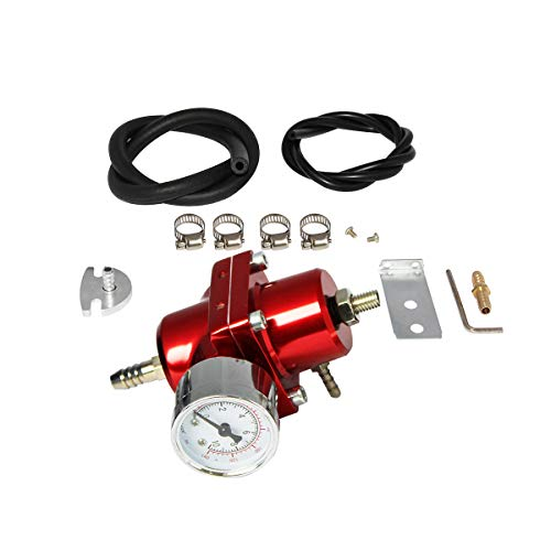 0-140 PSI Universal Adjustable Fuel Pressure Regulator Kit W/Gauge Hose, Red FPR