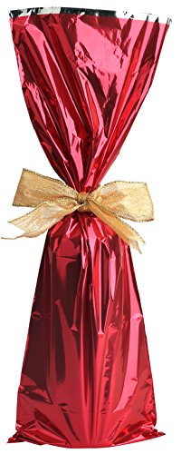 Metallic Mylar Wine Gift Bags for 750ml to 1L Bottles (6.50 in x 18 inches) by MT Products - 25 Pieces (Red) (Red Wine 750ml)