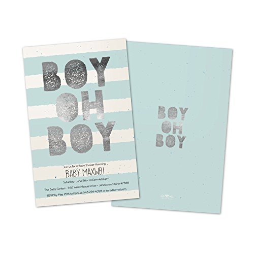 Oh Boy Stripes - Boy Oh Boy Stripes Personalized Baby Shower Invitations (Set of 10)