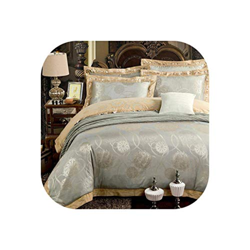 rainwater-shop Silver Gold Luxury Silk Satin Bedding Set Queen King Size Embroidery Bed Set,Color 11,Queen 4Pcs,Fitted Sheet Style ()