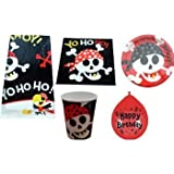 BIRTHDAY PARTY TABLEWARE PACK PIRATE FUN DESIGN PLATES NAPKINS CUPS TABLECOVER BALLOONS by Pirate Fun