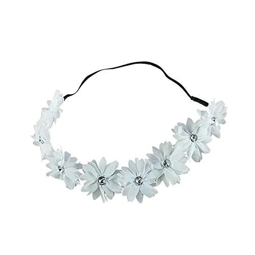 ided Chiffon Crystal Stone Floral Flower Crown Stretch Festival Headband (Crystal Laurel Wreath)