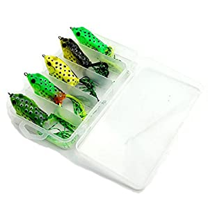 QAZZ Fishing Lure Set with Tackle Box Including Plastic Soft Lures Frog Lures Spoon Lures Hard Lures Popper Crank Rattlin Trout Bass Salmon And More