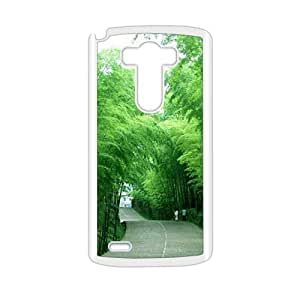 Personalized Clear Phone Case For LG G3,glam fresh green bamboo forest