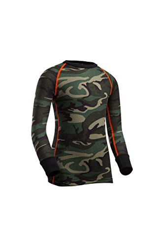 Youth Thermal Underwear Long Sleeve Top, Camo, Medium