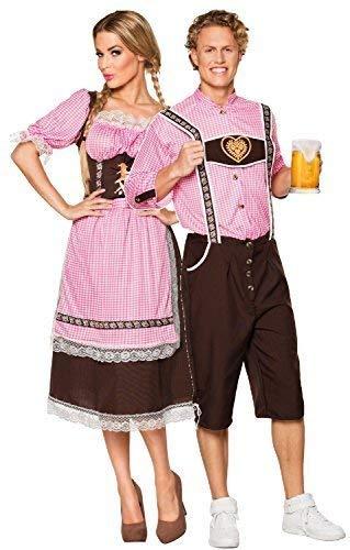 Couples Mens and Ladies Gingham Oktoberfest German Beer Festival Bavarian Lederhosen Fancy Dress Costume Outfit (UK 12-14 - Mens Large)]()