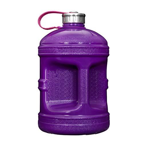 Geo Sports Bottles 1 Gallon (128oz) BPA Free Reusable Leak-Proof Drinking Water Bottle w/48mm Stainless Steel (Solid Purple)