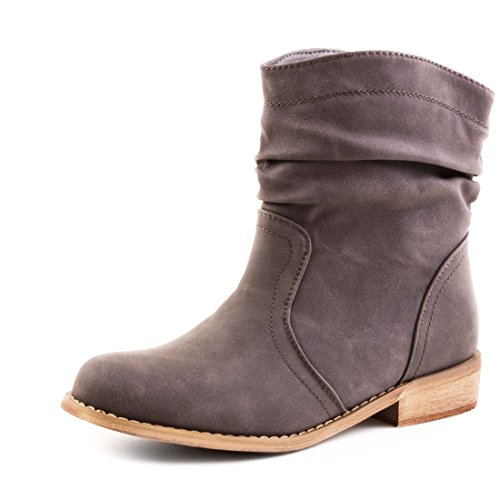 Stylische Basic Schlupf Stiefeletten Stiefel in hochwertiger Lederoptik Grau