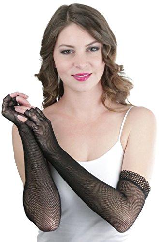 ToBeInStyle Women's Fishnet Trim 100% Nylon Arm Length Glove Warmers - Black]()