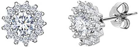 Sterling Silver Cubic Zirconia Sun Design Halo Round Post Earring