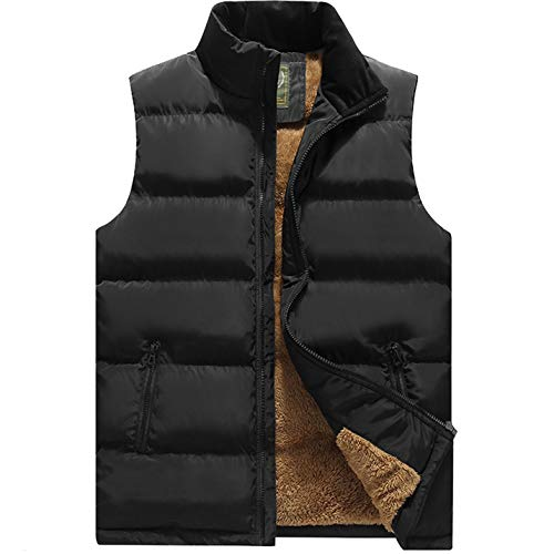 (Flygo Men's Winter Warm Outdoor Padded Puffer Vest Thick Fleece Lined Sleeveless Jacket (Style 03 Black, Large))