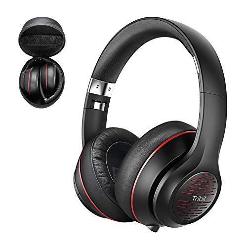 هدفون بلوتوث Tribit XFree Tune بیش از گوش - هدفون بی سیم 40 ساعت پخش ، صدای استریو Hi-Fi با باس غنی ، Mic Micro داخلی ، گوشواره های نرم - هدست تاشو با کیف قابل حمل ، سیاه / قرمز