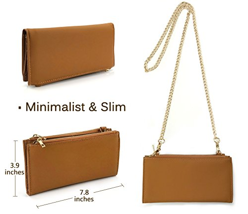 Purse Wallet Womens with Cross Chain bag Brown Double Mini Zipper body Strap Multipurpose gxfqPS