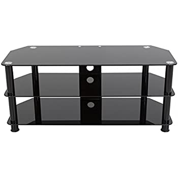 avf sdc1140cmbb a tv stand with cable management for up to 55 inch tvs black glass. Black Bedroom Furniture Sets. Home Design Ideas