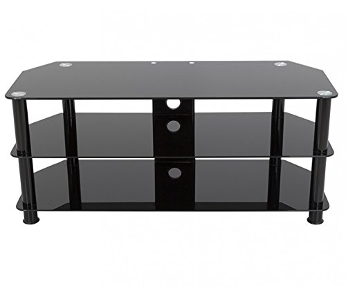 AVF SDC1140CMBB-A  TV Stand with Cable Management for up to 55-inch TVs, Black Glass, Black Legs