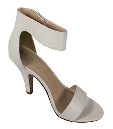 Delicious Women's Rosela Open Toe Slim High Heel with Adjustable Velkro Ankle Strap, white leatherette, 7.5 M US