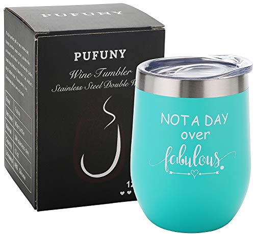 Pufuny Not a Day Over Fabulous Wine Tumbler,Birthday Wine Glass,Perfect Birthday,Wedding,Christmas,Mother's Day,Best Friend Gifts for Women 12 Oz Seafoam blue (The Perfect Wedding Gift For A Best Friend)