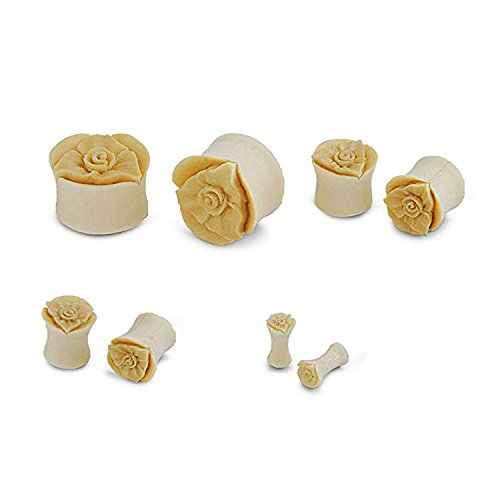 JewelryVolt Pair of Organic Crocodile Wood Floral Rose Flower Design Ear Plug Gauges (10 Millimeters)