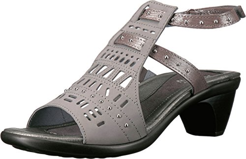 NAOT Footwear Women's Vogue Sandal Light Gray Nubuck/Silver Threads 8 M US