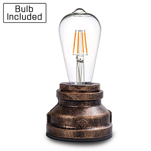 Vintage Touch Control Table Lamp,Included A Edison 4W LED Dimmable Bulb,with 3 Levels of Brightness,Small Desk Industrial Night Light for Living Room Bedroom,Bronze (Wrought Accents Iron)