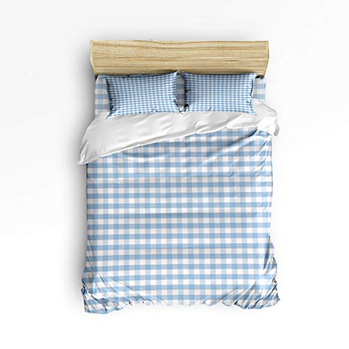 Cloud Dream Home 4 Piece Bedding Set, Plaid Duvet Cover Set Quilt Bedspread for Childrens/Kids/Teens/Adults Buffalo Style Checks Pattern White Blue Queen Size(Large)