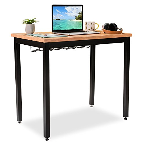 "Small Computer Desk for Home Office - 36"" Length Table w/Cable Organizer - Sturdy and Heavy Duty Writing Desk for Small Spaces and Students Laptop Use - Damage-Free Promise (Pear)"