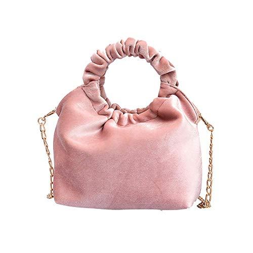 Home metallo per Meidi nero tracolla tracolla Borsa in velluto rosa colore vintage con blu unita tinta in telefono 8ddr1w7