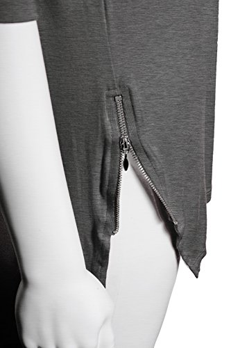 Femmes Tunique shirt col rond Dolman manches Zip rouget coupe