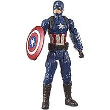Boneco Titan Hero 2.0 Capitão América, Avengers, Azul/vermelho