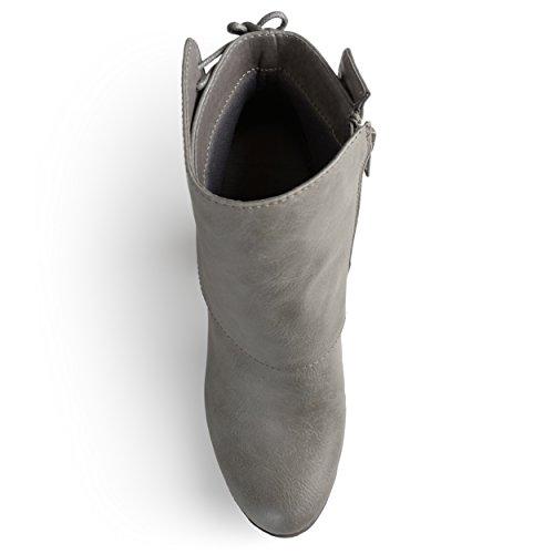 Journee Samling Kvinna Hög Klack Korsett Spets Chunky Klack Boots Grå