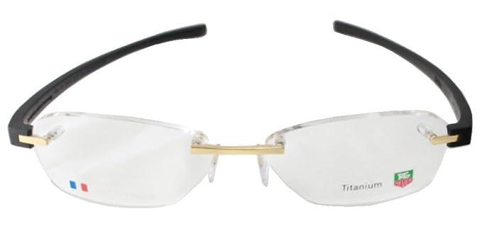 49235dde2e Amazon.com  Tag Heuer 3944 Eyeglasses 003 Gold Black Frame 54mm  Clothing