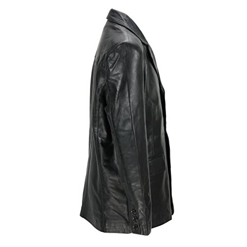 Morbida Stile In Di Uomo Giacca Media Vintage Pecora Lunghezza Pelle Nera Da Black 1qxInwgB