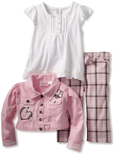 (Young Hearts Little Girls' Heart 3 Piece Plaid Capri Set, Pink, 5)
