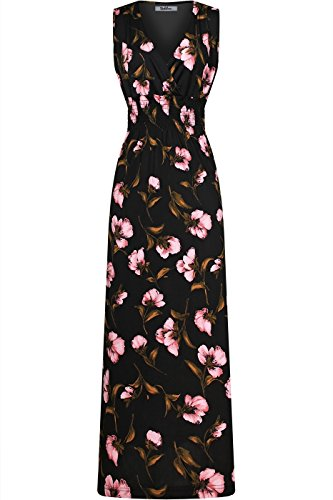 2LUV Women's Sleeveless Floral Smocked Waist Summer Dress Black L (A-line Sleeveless Sweep)