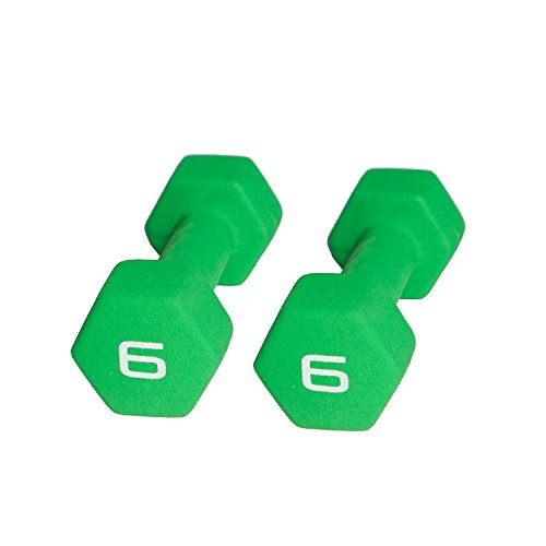 CAP Barbell Neoprene Coated Dumbbell (Pair), 6 lb., Green