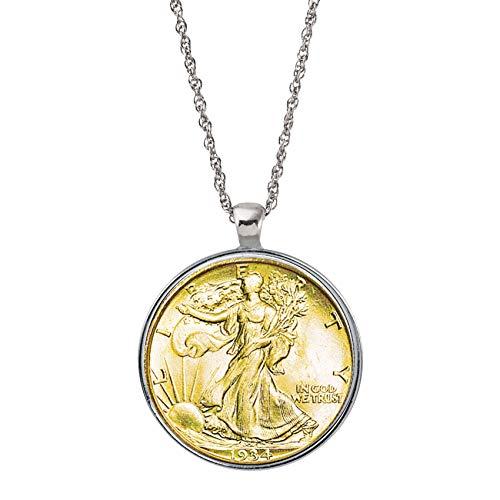 Gold Layered Silver Walking Liberty Half Dollar Coin Silvertone Pendant Necklace
