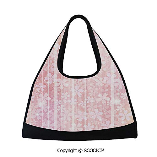 (Badminton bag,Hazy Floral Pattern Essence Growth Nature Beauty Blossoms Dreamy Spring Print Decorative,Multi Functional Bag (18.5x6.7x20 in) Peach Salmon)