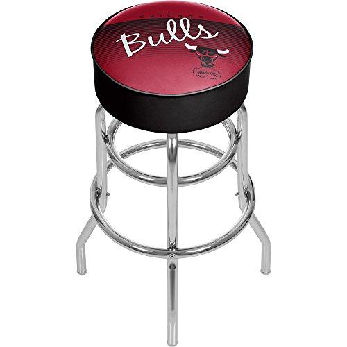 Trademark Global NBA Chicago Bulls Hardwood Classics Padded Swivel Bar Stool, One Size, Chrome - Chicago Bulls Bar Stools