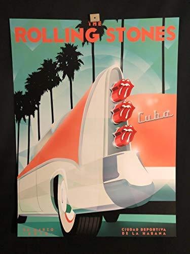 (The Rolling Stones RARE Original Cuba Concert Tour Poster March 25 2016, Mick Jagger, Keith)