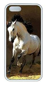 iPhone 5S Case, Unique Protective Design Soft TPU White Edge White Horse Case Cover for iPhone 5/5S