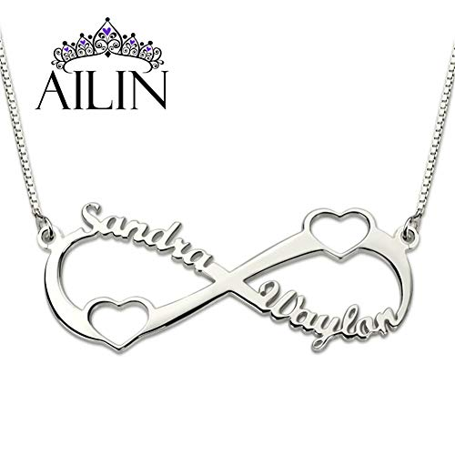 AILIN 925 Sterling Silver Personalized Infinity Name Necklace with Two Cut Out Heart Custom Made with 2 Names Silver Size ()