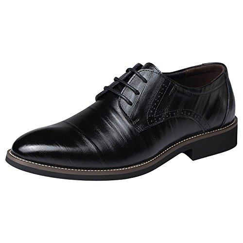 Plain Derby on Slip Oxford missfiona Dress Black Mens Toe Leather Formal Shoes Genuine Shoes wzIIB5xq