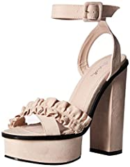 QUPID platform sandal with ruffle detail