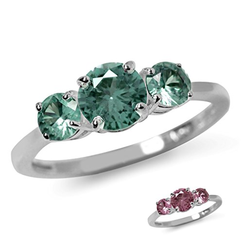 (3-Stone Simulated Color Change Alexandrite White Gold Plated 925 Sterling Silver Ring Size 5)