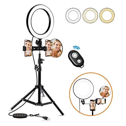 10 inch Ring Light with Tripod Stand, LED Selfie Light Ring with iPhone Tripod and Phone Holder, 3 Lighting Modes Desktop Camera Ring for Video Photography Makeup Live Streaming, iPhone&Android