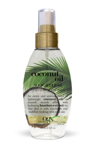OGX Nourishing Coconut Oil Weightless Hydrating Oil Mist, 4 Ounce Spray Bottle, Hydrating and Softening Sulfate-Free Surfactants