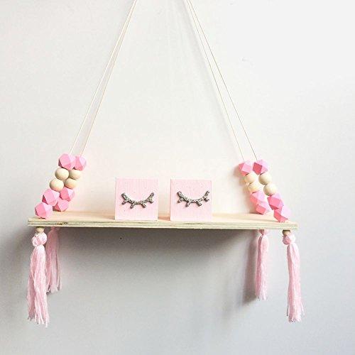 (Wood Hanging Wall Shelf,Princess Style Tassel Beads Decoration Storage Display Shelf for Women Girls Kids Bedroom Decor)