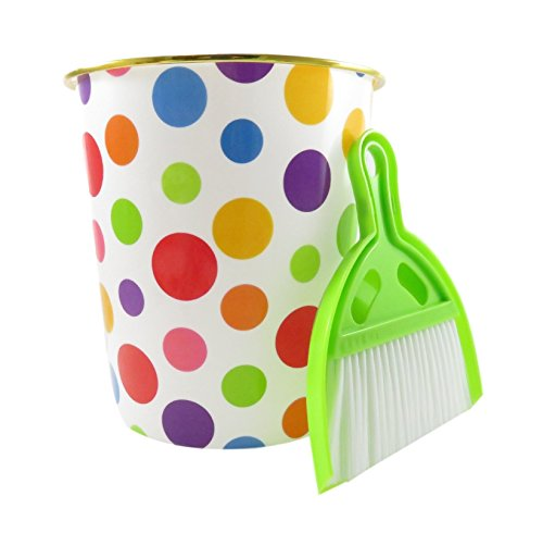 Polka Dot Wastebasket 9 1/4 Tall with Dustpan / Brush Set 1 1/2 Gallon (Bundle of 3) (Owl Bathroom Trash Can)