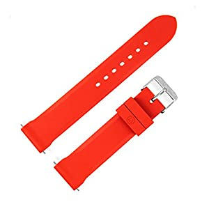 Marathon Watch Rubber Watch Strap with Non-Magnetic 316L Buckle and 2 Swiss Made Stainless Steel Shoulder-Less Spring Bars Included – 20mm – Made in Italy – Available in 6 Colors