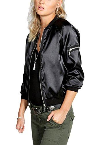 Outwear Chaqueta 's Cremallera Tunica Manga Black Larga Casual Sevozimda Abajo Women Y6xXwX